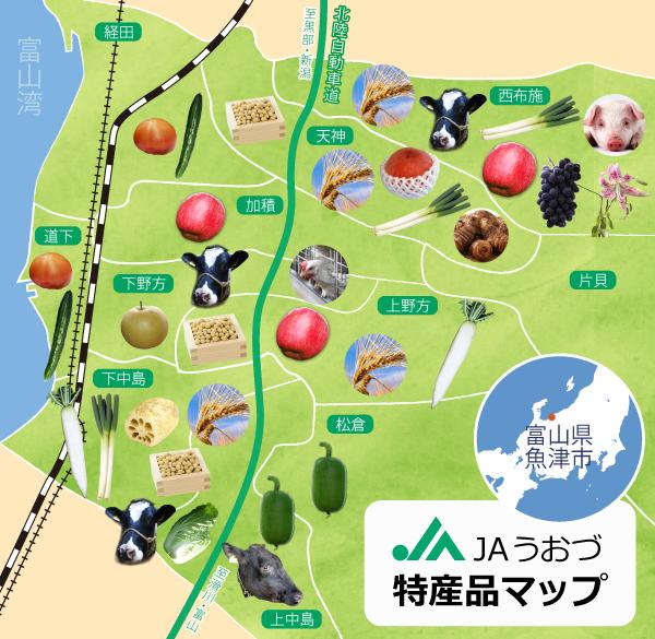 JAうおづ 特産品マップ